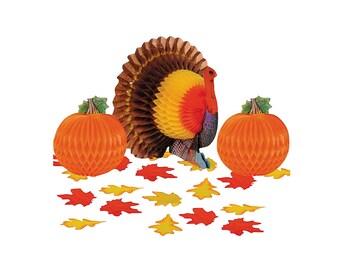 Thanksgiving Turkey Honeycomb Centerpiece Decorating Kit, Tableware, Party Supplies