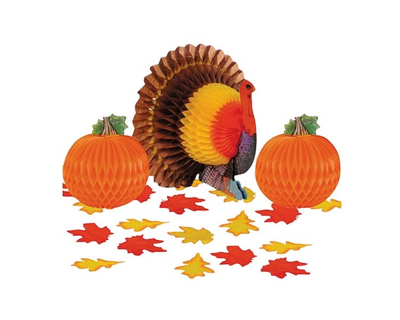 Thanksgiving turkey honeycomb centerpiece decorating kit