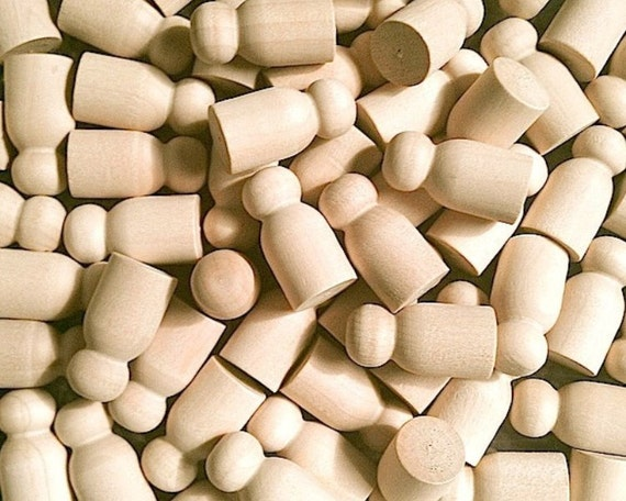 10  Wood Peg Little People Baby, Game Pawns - Unfinished Wooden Craft Supplies