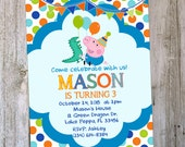 George Birthday Invitation, DIY Personalized Peppa Pig Invitation Digital file