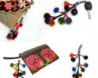 Colorful Pom poms Keychain, Zip Pull Bag Accessory Decoration Thailand Handmade. (AC1014)