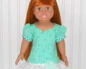 18 inch Girl Doll Clothes Aqua Ruffled Dress with Eyelet and Polka Dots American Doll Clothes