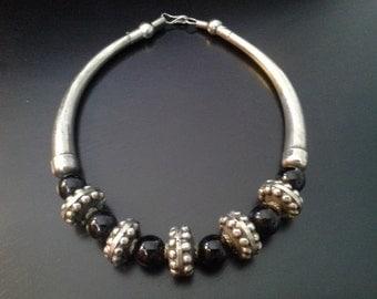 1980s Tribal Goddess Black and Silver Chunky Choker