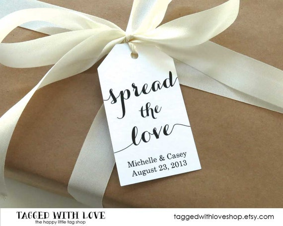 Spread the Love Tag - LARGE Size - Wedding Favor Tag - Shower - Baptism - Christening - Custom Tag - 36 Pieces - 3.5 x 2 inches
