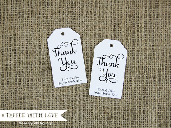 Thank You Tag - Wedding Favor Tag - Shower -Baptis - Christening - Custom Tag - Large Size - 36 Pieces - 3.5 x 2 inches