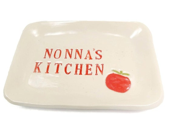 Nonna 39 s kitchen dish mother 39 s day gift by magicmoonpottery for Italian kitchen gifts