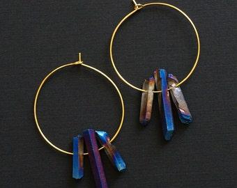 Blue Quartz Hoop Earrings, Raw Quartz Point Earrings