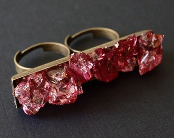 Red Quartz Double Finger Ring, Crystal Two Finger Rock Ring
