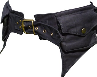 Black Hip Money Belt Waist Bum Bag with Large Phone Pocket