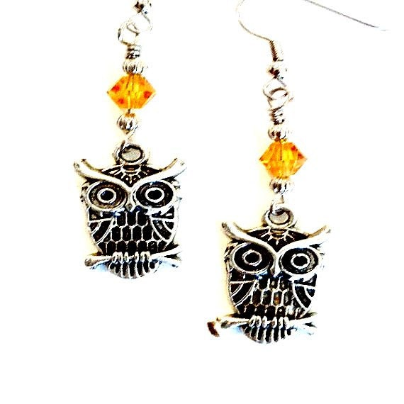Wise owl earrings  amber crystal wire wrapped Handmade Gift