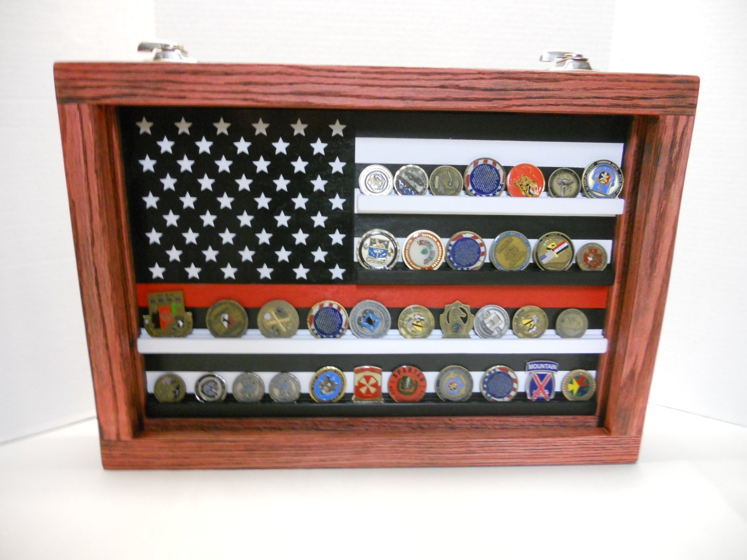 Thin Red Line Coin Case challenge coin display Fire fighter