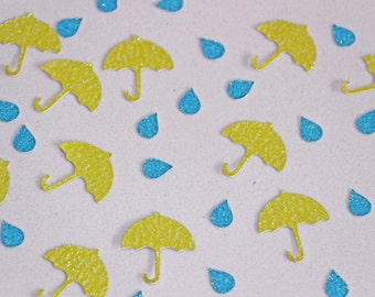 Rainy Days Umbrella Confetti with Rain