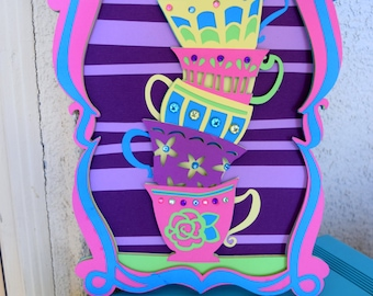 Alice in Wonderland - Mad Tea Party - Tea Cup Table decorations - topsy turvy tea cup art