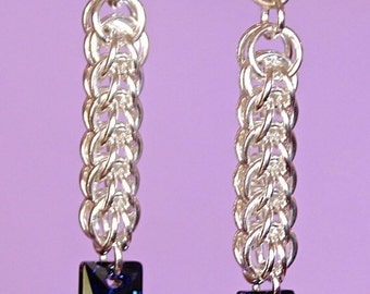 Chainmaille Sterling Silver Full Persian Earrings with Swarovski Bermuda Blue Column Dangles