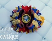 Choose your Character- Custom Character Inspired Large Stacked Hair bow attached/ detached to a crochet headband