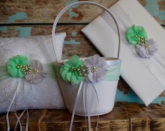 Your Color ,Mint Flower Girl Basket Wedding Pillow , Ring Bearer Pillow , Guest Book ,  Flower Girl Basket and Ring Bearer Pillow Set