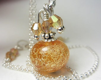 Artisan Lampwork Amber Necklace Golden Champagne Tangerine Orange Maple Necklace Sterling Silver Bubble Glass Necklace Rare Lampwork Gift