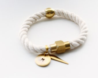 Cotton Nautical Rope with Brass Rings or Tube Personalized Bracelet