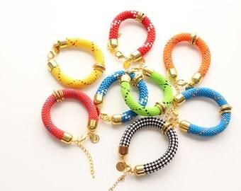 Colorful Marine Cord Gold Brass Bracelet