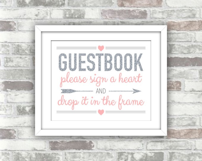 INSTANT DOWNLOAD - Printable Drop Top Heart Guestbook Guest Book Sign - Digital Files 8x10 - Silver Glitter Effect PINK Blush