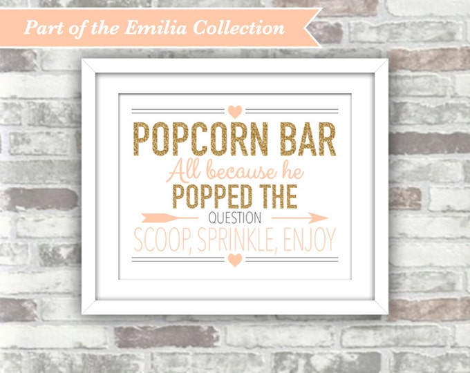 INSTANT DOWNLOAD - Wedding Printable Popcorn Bar Sign - EMILIA Collection - Gold Glitter Blush Peach-Pink - 8x10 Digital File Wedding Decor