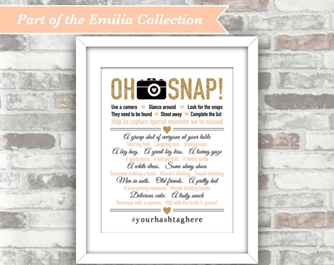 PRINTABLE Personalised File - Emilia Collection - Wedding I spy 'Oh Snap' Table Decor Photo Game - 8x10 Digital File - Gold Blush Peach-Pink