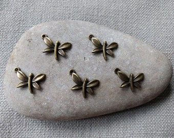 Set of 10 Antique Brass Dragonfly Charms