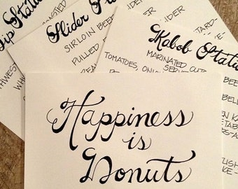 Custom Handwritten Wedding Calligraphy Signs. Place Cards, Escort Cards, Menu Cards, Bar Signs, Food Stations
