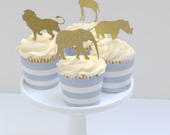 Safari Cupcake toppers, Animal cupcake toppers, Safari Baby Shower, Gold Glitter Animal toppers, Zoo Party, First Birthday