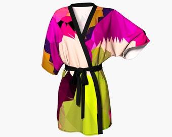 Kimono / Pink and Green Kimono / Graphic Print Kimono / Wearable Art Kimono / Print Kimono / Pink Kimono / Dressy Kimono / festival kimono