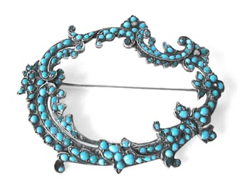 Victorian Sterling Silver Brooch Set With Turquoise and Pearls