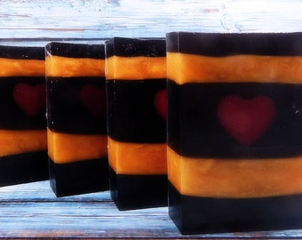 Dahlia Soap - Coconut Milk Soap - Glycerin Soap - Soap Bar - Black Soap - Gold Soap - Lychee Soap - Heart Soap - Activated Charcoal Soap