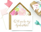 Hand-lettered Will You Be My Godmother Card; Pink Floral