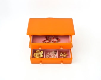 Jewelry Music Box Gypsy Glam Jewelry Chest Orange and Pink Music Jewelry Case