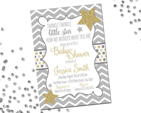 We Are Little Stars: Twinkle Twinkle Little Star Baby Shower Invitation