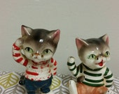Japan Whisker Cats with Striped Shirts Figurine Set