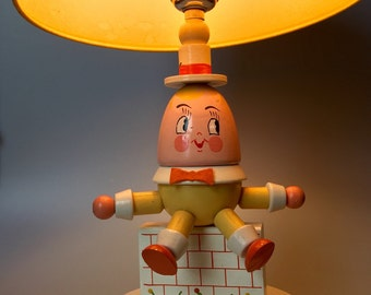 Humpty Dumpty Yellow hand painted Wood Nursery Lamp & Shade