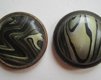 Vintage Celluloid Bubble Top Buttons Black Olive