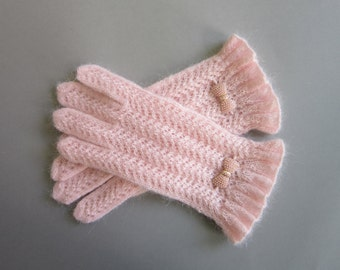 Knit Gloves Soft Pink Lace Gloves Blush Gloves Hand Knit Gloves Womens Gloves Girl Gloves Womens GiftsKnitted Gloves