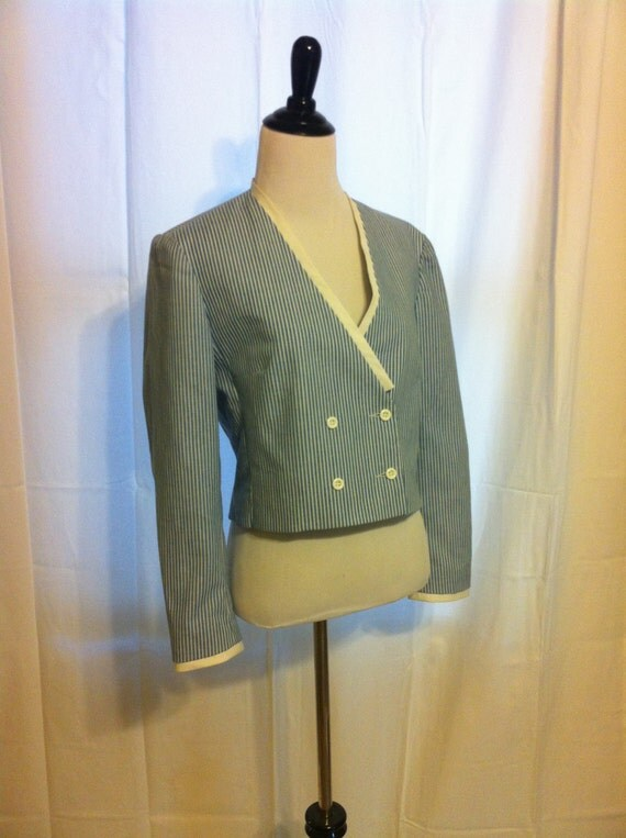 double button blue and white sailor striped vintage blazer