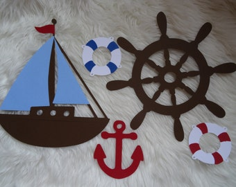 Large Nautical Decoration Set, Sailboat, Anchor, Helm, Life Preserver