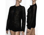 Vintage Crocheted Black Sweater 1960s Sweater with Big Buttons