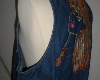 unique jean vest with sequins glitter female cowgirl  on back of it shatp handmade design artwork