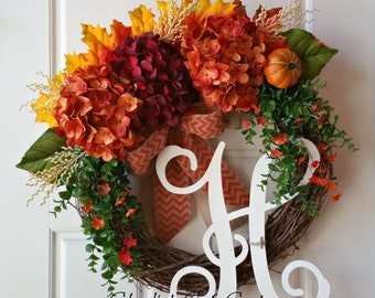 Fall Wreath,Hydrangea Wreath,Rusty Orange Hydrangea Wreath,Monogram Wreath,Rustic Wreath,Front Door Wreath,Grapevine Wreath,Farmhouse Wreath