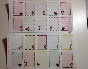 Disney Mickey and Minnie inspired planner square Stickers , Erin Condren, Filofax, Scrapbooking