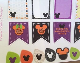Disney Inspired Halloween Banner Stickers For Planner, Erin Condren, Filofax, Scrapbooking