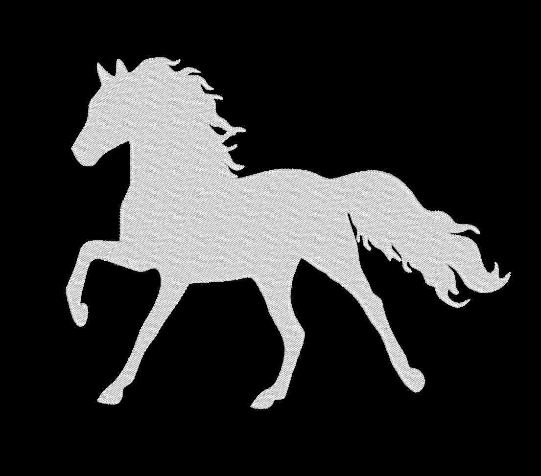 High Stepping Horse Silhouette Saddlebred Fancy Embroidery