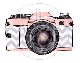 A0167_purple - Retro Photo Camera, pink, Purple Chevron - Digital Print for Instant Download. Printable Illustration. PNG, JPG files 8x10''.