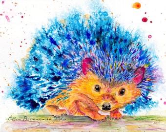 Hedgehog Spirit Power animal original painting by Ellen Brenneman