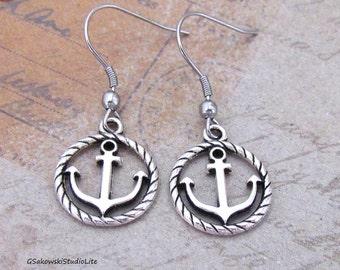 Anchor Earrings, Antique Silver Anchor Charm Earrings